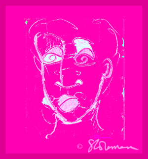 pink, square, face, drawing, artofageniusmind, suzanne,coleman, art, bright, expressionist, impressionist, chicago, illinois,