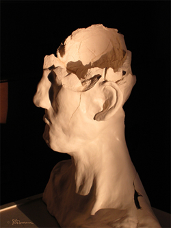 sculpture, art, clay, suzanne,coleman, artofageniusmind, broken, head, bust, broken, fired, what happens, photo, art, fire, bright, light, contrast, illinois, artist,