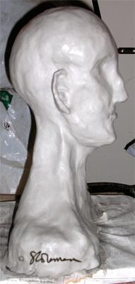 fired, sculpture, firing, before, clay, wet, bust, head, original, suzanne, coleman, artofageniusmind, art, grey, profile, lateral, bald, no hair