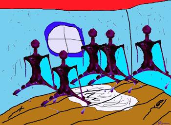 gum, guys, room, drawing, art, digital, colored, imagination, alien, aliens, suzanne, coleman, artofageniusmind, genius,mind, purple, red, blue, composite, composition, software, mutiplying