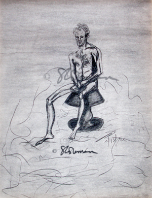 male, lamp, sea, drawing, art, charcoal, sketch, float, floating, surreal, surrealism, original, toe, body, form, person, man, naked, water, ripples, suzanne, coleman, artofageniusmind,