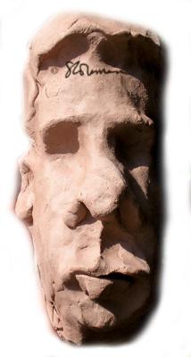 face, sculpture, clay, art, artist, small, person, man, human, brown, hair, hand, made, original, art, artwork, american, suzanne, coleman, sale, for