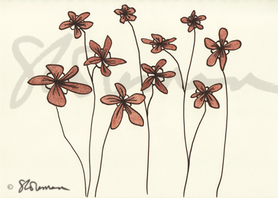 flowers, dancing, brown, petals, drawing, sketch, simple, nature, plant, beauty, create, art, signed, design