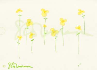 buttercup, yellow, flowers, drawing, art, green, paper, simple, design, original, new, suzanne, coleman, artofageniusmind