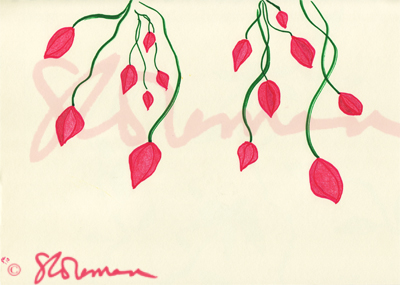 drop, cherry, flowers, red, pink, green, vine, cascade, nature, art, outdoors, drawing, design, signed, paper, suzanne, coleman, artofageniusmind