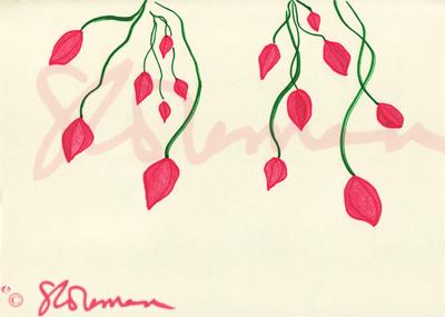 drop, cherry, flowers, red, pink, green, vine, cascade, nature, art, outdoors, drawing, design, signed, paper, suzanne, coleman, artofageniusmind