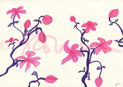 crazy, flowers, pink, purple, drawing, art, design, unique, copyrighted, signed, imaginative, innovative, suzanne, coleman, nature, plant, bloom, bud, artofageniusmind