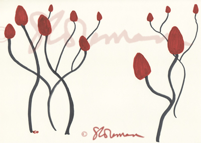 sumac, nature, illinois, wild, outdoors, plant, seeds, drawing, simple, design, signed, maroon, red, grey, suzanne, coleman, reaching, skies, stars, up, dancing, artofageniusmind