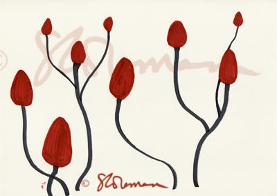 sumac, plant, nature, art, drawing, red, maroon, grey, paper, seeds, illinois, shrub, dancing, night, away, under, darkened, skies, sky, suzanne, coleman, artofageniusmind
