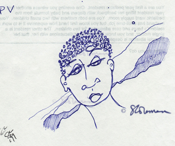 blue, woman, landscape, face, drawing, art, lake, afro, african, africa, moon, suzanne,coleman, artofageniusmind