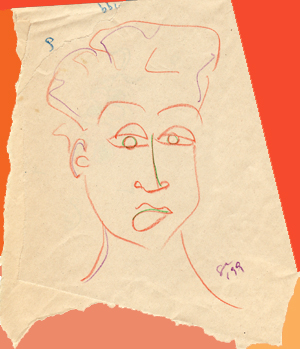 crayon, face, female, crayonface, drawing, draw, color, orange, sketch, people, person, image, art, suzanne,coleman, artofageniusmind