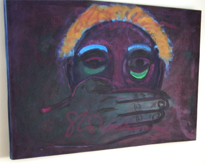 face, oil, painting, hand, silence, quiet, speech, freedom, woman, women, social, issues, commentary, africa, african, purple, interpretation, imagination, suzanne, coleman, canvas, hang, framed, artofageniusmind