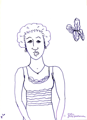 lexy, girl, drawing, person, figure, butterfly, purple, outline, simple, dress, black, african, american, art, suzanne, coleman, artofageniusmind, marker