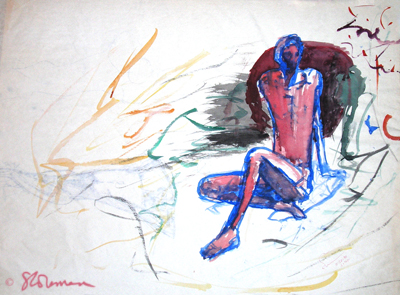 male, painting, water, color, sunset, seated, art, original, salmon, blue, paper, drawing, figure, man, human, draw, outline, suzanne, coleman, artofageniusmind,