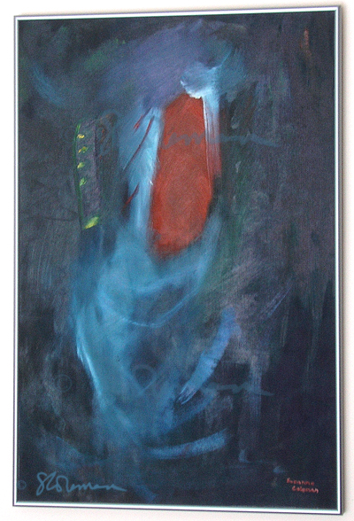 spirit, spiritual, rite, painting, oil, framed,canvas, board, blue, orange, window, plant, life, religion, ephemeral, suzanne, coleman, artofageniusmind, deep, depth, art, abstract