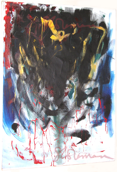 stress, oil, painting, expressive, emotional, emotive, art, artist, canvas, hang, wall, suzanne, coleman, painter, american, broad, strokes, color, color block, figure, imaginative, imagination, abstract, signed, hung, bars, blood, red, black, blue, white, yellow, green